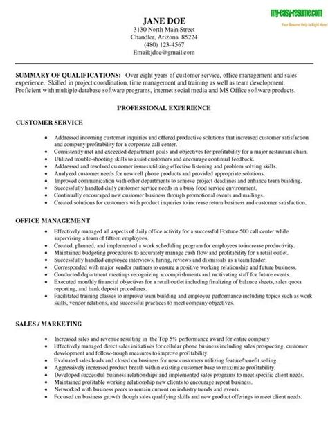 career objective exles for customer service free sle resume objective statements exle of for
