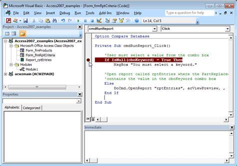 Ms Access Programmer by Ms Access 2007 Set Breakpoint In Vba