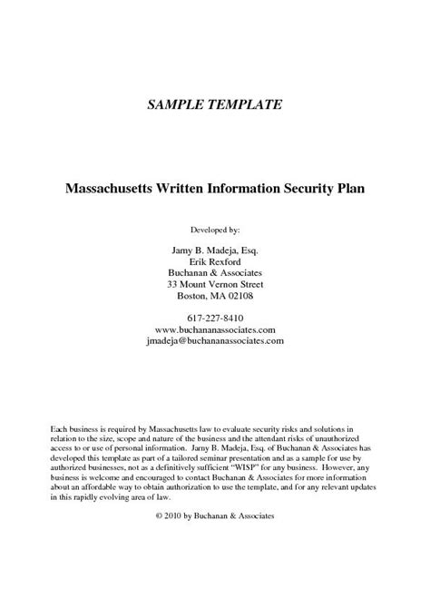 Sample Template Massachusetts Written Information Security Plan Develo Pdf Document Docslides Information Security Program Template