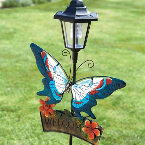 solar butterfly welcome light garden features garden