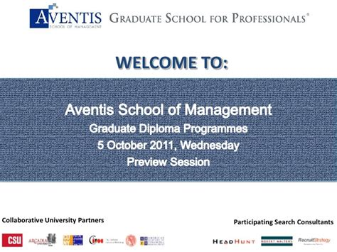 Senior Management Both Mba Phd by Aventis School Of Management Graduate Diploma