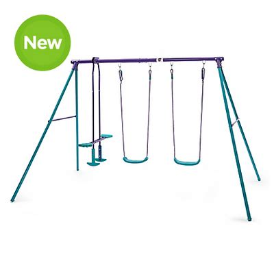 asda swing plum metal swing set with double swing and glider