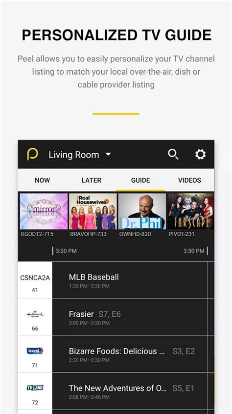 tv guide for android peel smart remote tv guide android apps on play