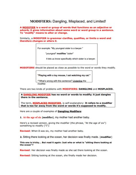 Dangling And Misplaced Modifiers Worksheet by Printables Misplaced And Dangling Modifiers Worksheet Happywheelsfreak Thousands Of Printable