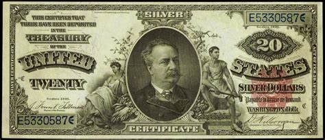 Who Makes The Paper For Us Currency - 1891 twenty dollar silver certificate daniel manning world