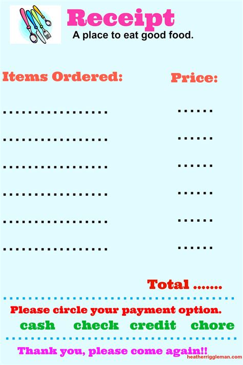 printable pretend receipts 4 cabin fever rescues with printables