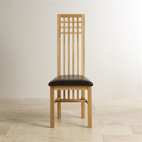 Oak And Black Dining Chairs Lattice Back Solid Oak Dining Chair Black Leather