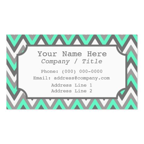 Business Card Template Grey by Blue Gray Chevron Label Business Card Zazzle