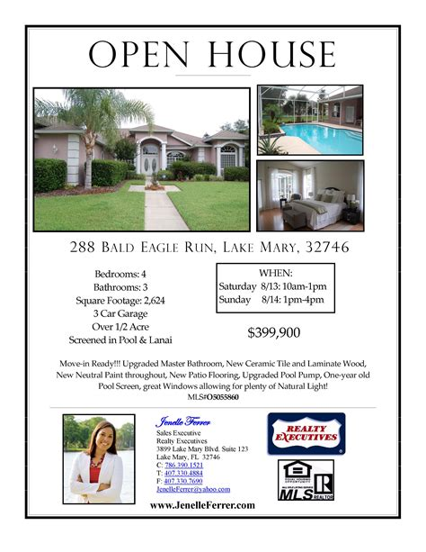 open house flyer template your central florida realtor buying or selling news to
