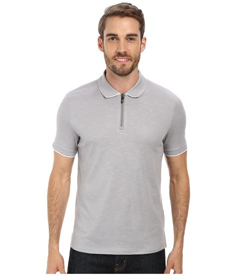 Ziper Polos perry ellis textured pique zipper polo in gray for lyst