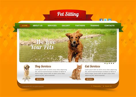pet sitting pet care service html5 template on behance