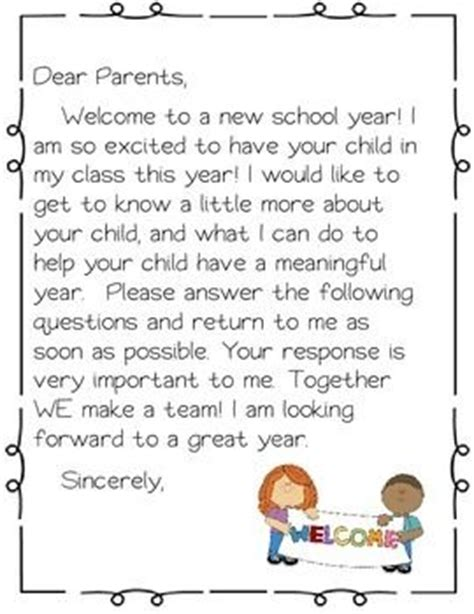 Introduction Letter Welcome Students Back To School sle welcome back to school letter to parents from
