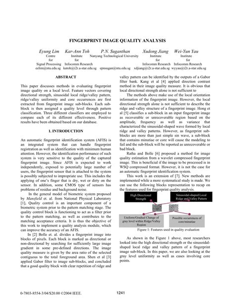 fingerprint pattern classification pdf fingerprint image quality analysis pdf download available