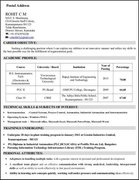 best resume format for experienced instrumentation engineer cv electronics and instrumentation engineer with 2