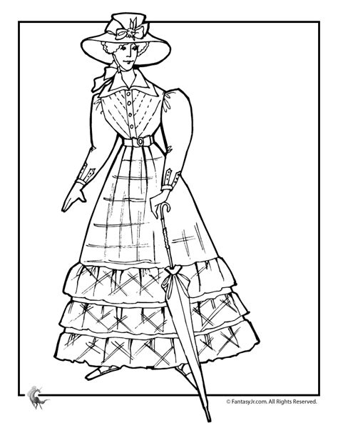 victorian doll with parasol coloring page woo jr kids