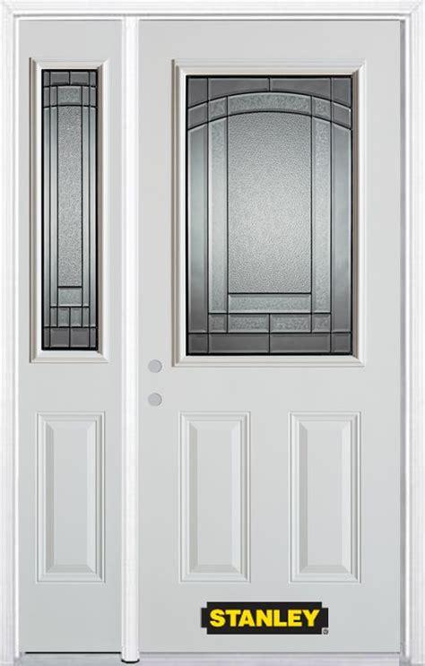 48 Inch Exterior Door Stanley Doors 48 Inch X 82 Inch Chatham 1 2 Lite 2 Panel White Steel Entry Door With Sidelite