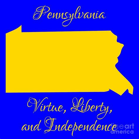 pennsylvania map in state colors blue and gold with state