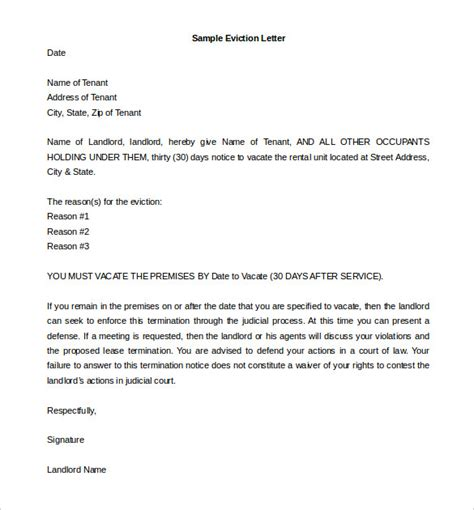 write eviction notice template business