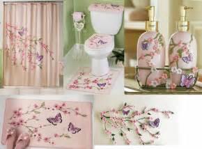 Cherry blossom flower butterfly pink shower curtain bath rug mat set