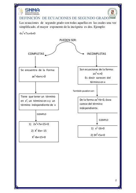 segundo grado ecuaciones de segundo grado