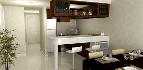 cocina comedor juntos  barra pequena en espacios