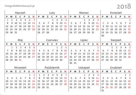 Kalendarz Z Dniami Wolnymi 2018 Kalendarz 2018 Do Pobrania I Druku Pliki Pdf I Inne Formaty
