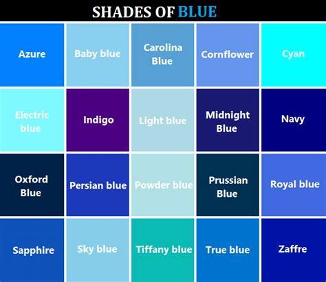 shades of blue color chart art writing colors reference referenceforwriters