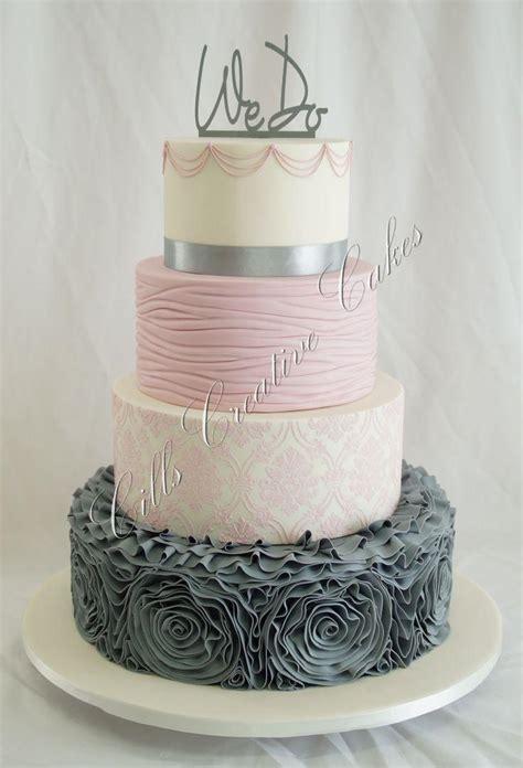 Hochzeitstorte Grau Rosa by Kuchen Wedding Cake Ideas 2151119 Weddbook