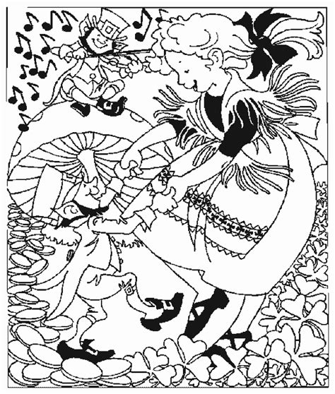 coloring activity pages girl dancing with leprechaun