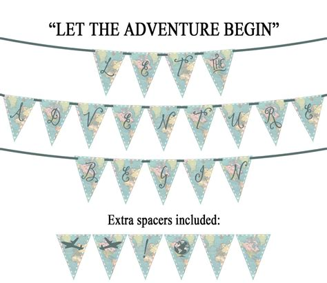 printable banner map let the adventure begin vintage map printable party banner
