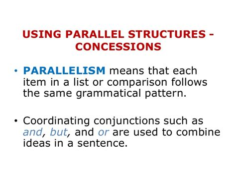 using parallel structure