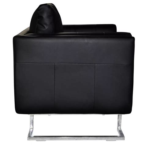 poltrona cuoio poltrona in cuoio nero di alta qualit 224 con i piedi cromati