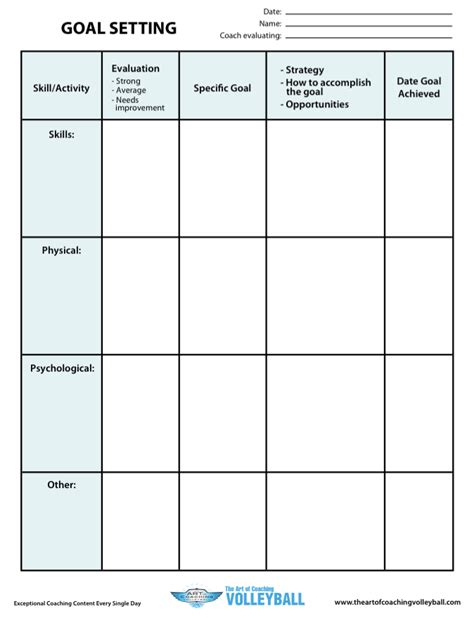 goal setting template goal setting worksheet