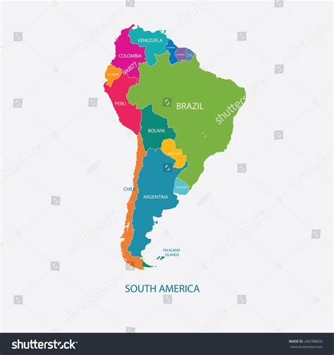 south america map with names south america color map with name of countries flat