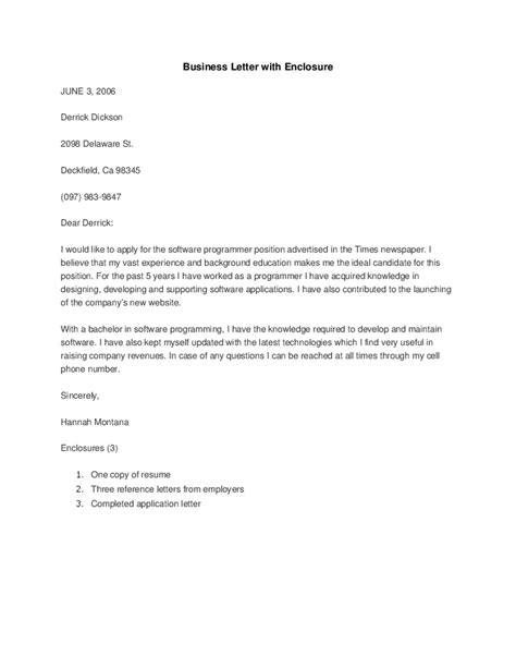 business cover letter with enclosure sle formal letter with enclosed documents appeal