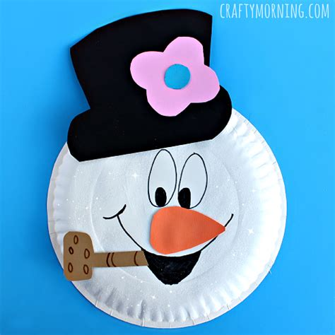 Snowman Paper Plate Craft - paper plate frosty the snowman craft crafty morning