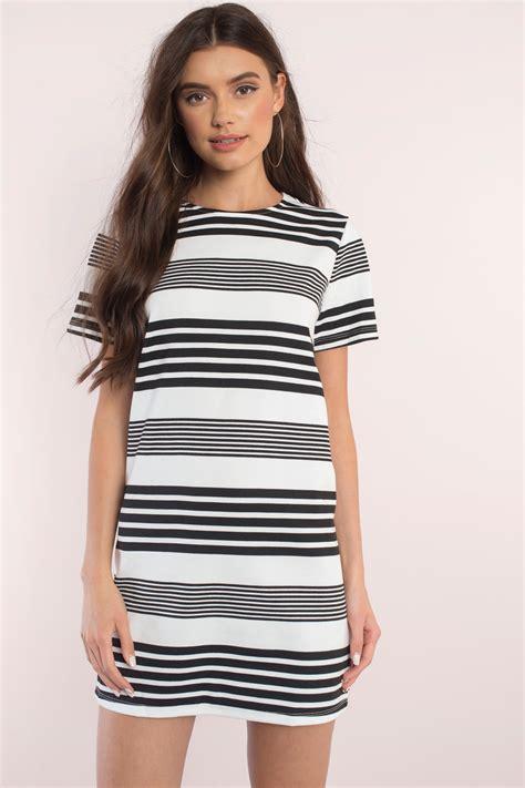 Striped T Shirt Dress black white dress sleeve dress dress