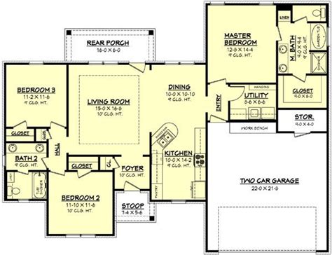 1500 Sq Ft Bungalow Floor Plans by House Plans 1500 Square 1500 Square 3