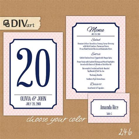 printable number place cards 17 best images about menu etsy on pinterest wedding