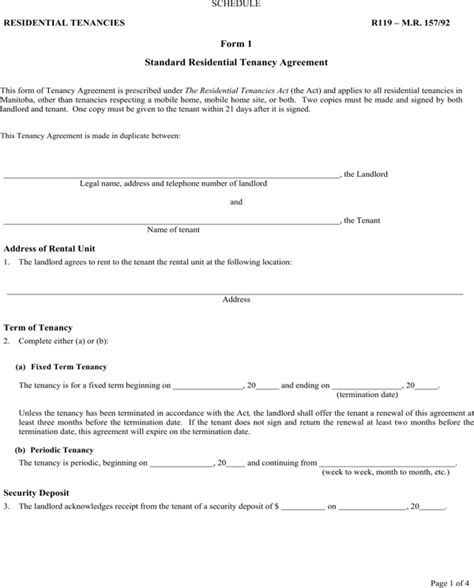 standard tenancy agreement template standard residential tenancy agreement manitoba
