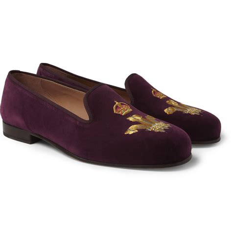 mens velvet slippers stubbs wootton embroidered velvet slippers in for