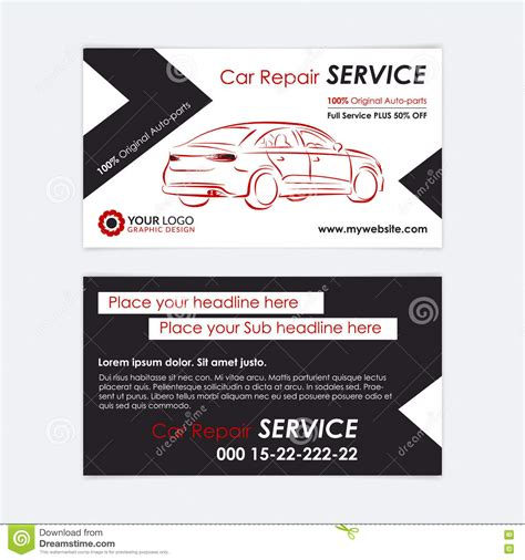Auto Repair Business Card Template Create Your Own Business Cards Vector Illustration Mechanic Business Card Template