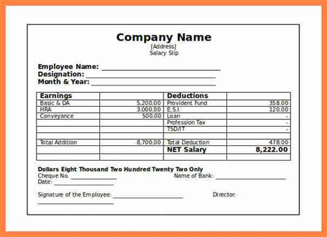 salary slip sample  salary slip