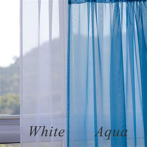 white and aqua curtains voile ruffle curtain