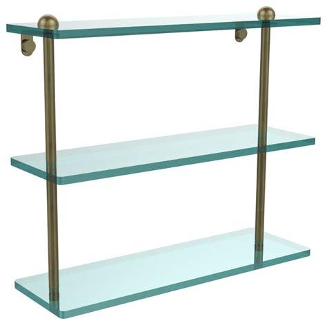 triple glass shelf bathroom 16 quot triple glass shelf antique brass contemporary bathroom cabinets shelves