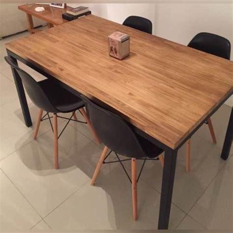 mesa comedor tipo industrial hierro  madera calidad