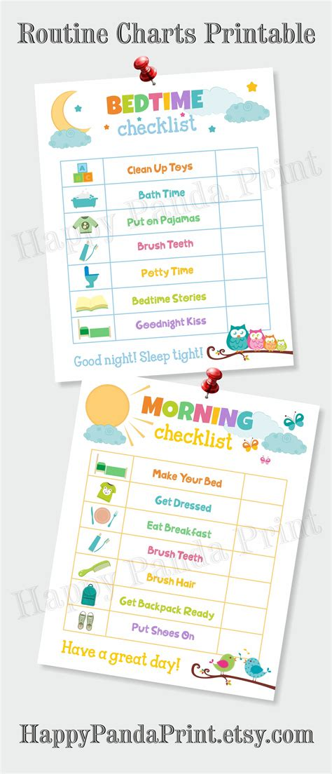 printable toddler routine chart morning and bedtime checklist printable morning routine