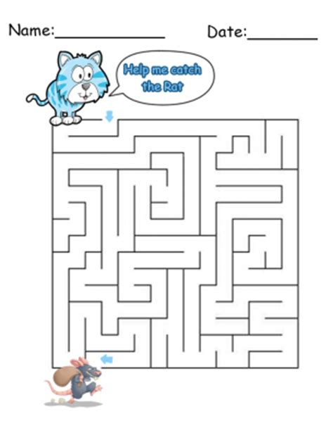 printable cat maze cat maze printable games