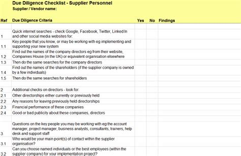 due diligence checklist for supplier personnel