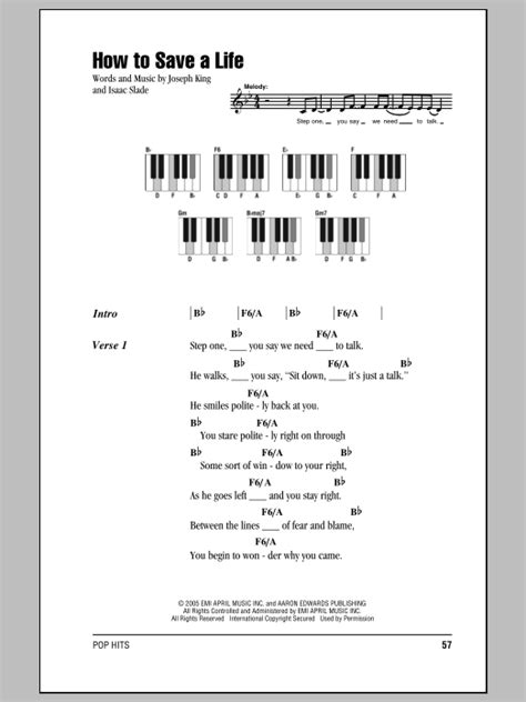 tutorial piano how to save a life how to save a life sheet music by the fray lyrics piano